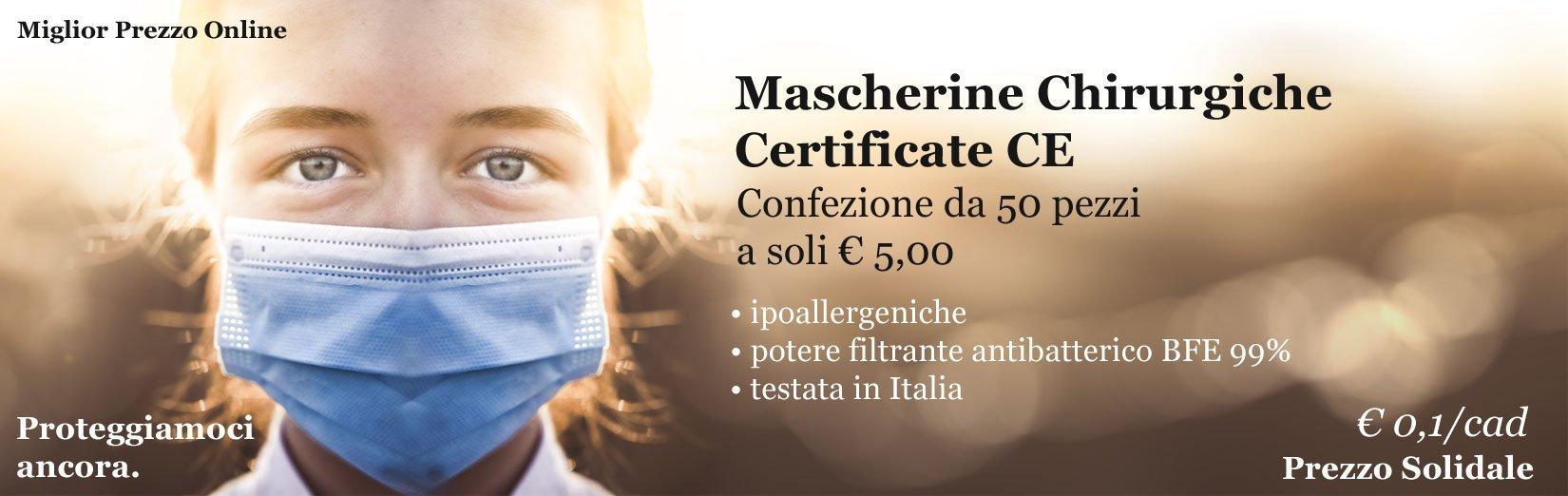 Mascherine chirurgiche certificate CE a 0,1 € al pezzo